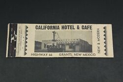 California Hotel And Cafe Route 66 Grants New Mexico Matchbook Cover