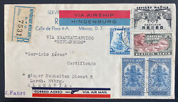 1936 Mexico Hindenburg Zeppelin Lz 129 Flight Airmail Cover To Lorch Germany