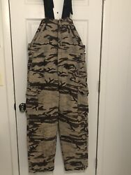 King Of The Mountain Camo Hillbilly Bibs Hunting Wool Pants Overalls Large