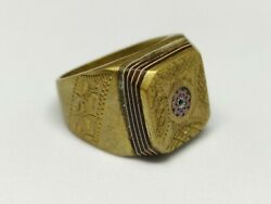 Handmade Ring Bronze Vintage-antique Roman Style Old Carved Very Rare Jewelry