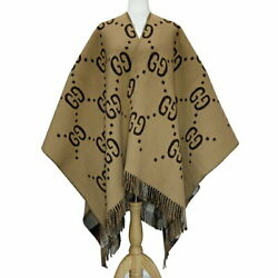 Poncho Reversible Gg Wool Brown 2018 Collection 145 Andtimes 185cm