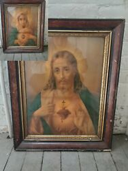 Antique Religious Framed Litho Prints, Sacred Heart Of Jesus Immaculate Of Mary