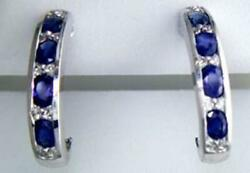2.32ct Diamond And Aaa Sapphire 14kt White Gold 3d Oval Umbrella Hanging Earrings
