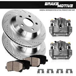 Rear Oe Brake Calipers +d/s Rotors And Ceramic Pads For Gmc Sierra 3500 Hd Dually