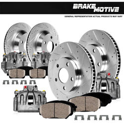 Front + Rear Brake Calipers And Rotors + Ceramic Pads For Escalade Tahoe Sierra