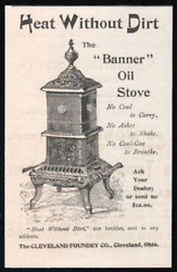 Banner Oil Stove Heating Antique 1892 Small Ad Cleveland Foundry Oh Plumbing Hva