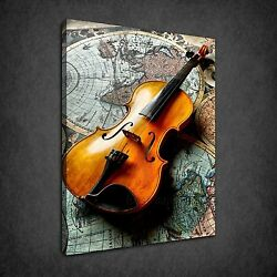 World Map Vintage Violin Music Instrument Box Canvas Print Wall Art Picture