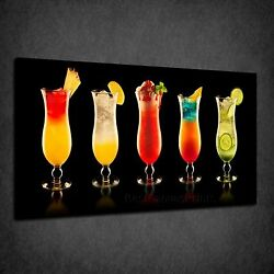 Colourful Coctail Glasses Drinks Kitchen Box Canvas Print Wall Art Picture