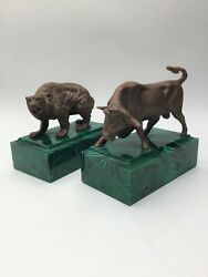 Vintage Gilt Bronze Bull And Bear Bookends W/cultured Malachite Bases