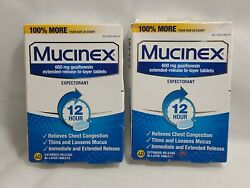 Mucinex 600mg Guaifenesin Expectorant 12 Hour Relief 80 Bi-layer Tablets- New.
