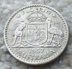 2 Shillings Florin 1957 Australia Silver Coin In A Plastic Wallet