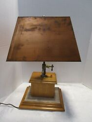 Vtg Wood And Travertine Base Table Lamp With Arts And Crafts Copper Shade 23andfrac12andrdquot