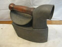 Antique Charcoal Chimney Sad Iron Door Stop Bless And Drake Man Face Wood Handle
