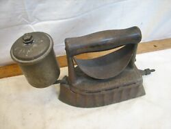 Antique Gas Sad Clothes Iron Kitchen House Tool Wood Handle The Monitor 1903 Pat