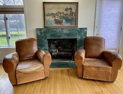Pair Antique French Art Deco Leather Lounge Club Chairs