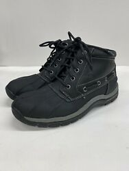 Sperry Top-sider Mens 8m Waterproof Duck Boots Black Leather Lace-up High Top