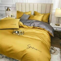 Bedding Set Egyptian Solid Color Embroidery Bed Set Duvet Cover Bed Sheet Spread