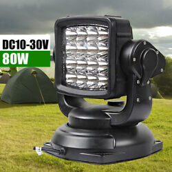 80w Led Search Light Lamp Boat Camping Magnetic Base W/ Remote Control