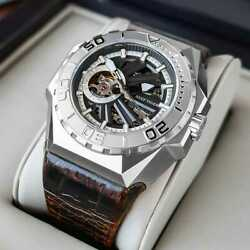 Reef Tiger/rt Men Sports Watches Skeleton Steel Automatic Mechanical Military