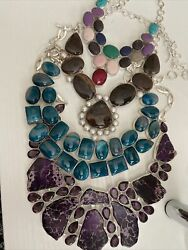 Large Healing Crystals Silver Plated Genuine Stone Pendants Scrap Wholesale Lot