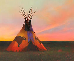 R. Tom Gilleon Blue Norther, Tipi, Native American, Buffalo Giclee Canvas 3/45