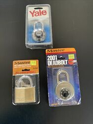 Vintage Padlock / Combination Locks - Yale And 2 Master -new Old Stock With Keys