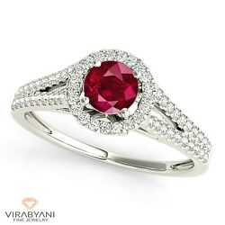 1.16 Ct. Natural Ruby Ring With 0.35 Ctw. Diamond Halo Platinum 950
