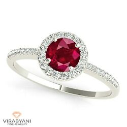 1.35 Ct. Natural Ruby Ring With 0.20 Ctw. Diamond Thin Halo 18k White Gold