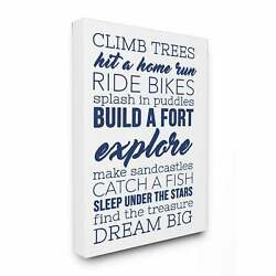 And039climb Trees Dream Big - Navy With White And039 Stretched Canvas
