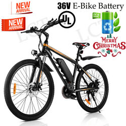 26and039and039 Electric Bike Mountain Bicycle Ebike Shimano 21speed 36v Li-battery 4black.