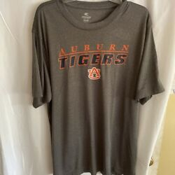 Auburn Tigers Colosseum Unisex T-shirt Gray Orange Heathered Spell Out Scoop Xxl