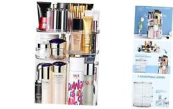 360 Degree Rotation Makeup Organizer Adjustable Multi Function Cosmetic Clear $33.41