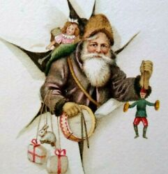 Gabriel Brown Robe Santa Claus Burst From Wall With Toys Christmas Postcard 1285