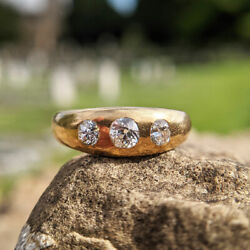 Antique Victorian 18ct Gold Old Cut Diamond Gypsy Ring Vintage Trilogy Uk N