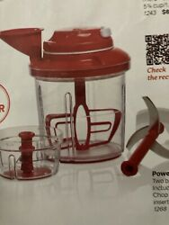 Tupperware Power Chef System Food Processor Chopper Mix Chop Whisk Chili Red New