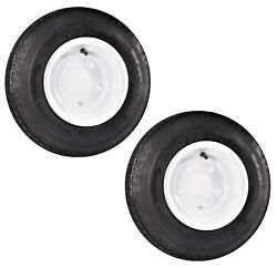 2-pack Trailer Tire On Rim 4.80-8 480-8 8 In. 6 Ply Lrc 5 Hole White Wheel