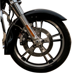 26 Wheel 120/130 Tires Bagger Wrap Around Front Fender Fit Harley Touring Black
