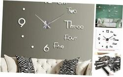3D DIY Wall Clock Large Frameless Mirror Wall Clocks for Living Room Silver