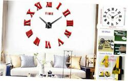 3D DIY Wall Clocks Acrylic Mirror Surface Luxury Wall Decor Sticker Clocks Red
