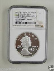 Canada Silver Coin 20 Dollars 2012queenand039s Diamond Jubileengc Pf 69 Ultra Cameo