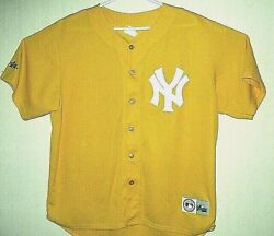 New York Yankees New Mlb Limited Edition Gold Majestic Stitched Jersey Size L