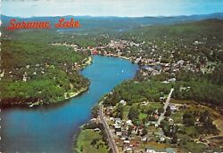 Ny Saranac Lake In The Adirondacks Aerial View 1965 M 4x6 Postcard