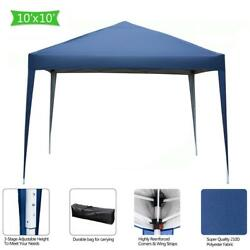 10and039x10and039 Pop Up Gazebo Wedding Tent Patio Canopy Awning W/ Carry Bag Blue Us