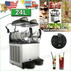 Commercial Ice Beverage Machine Double Cylinder 24l Slush Frozen Drink Machine