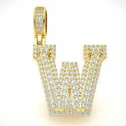 10k Gold Round Diamond 1 3d Varsity Initial Letter And039wand039 Pendant Necklace 2.25ct