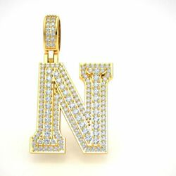 Letter And039nand039 Pendant Charm 10k Gold Round Diamond 1.5 3d Varsity Initial 2.40ct