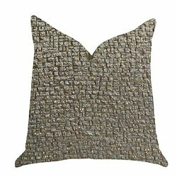 Plutus Moondust Radiance Luxury Decorative Throw Pillow In Gold Gray Double Sid