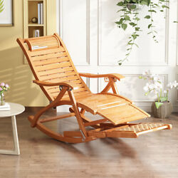 Larger Rocking Chaise Lounge Chair Folding Recliner Bamboo Furniture Home Patio
