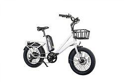 Electric Bike Fat Tire With Basket With 45 Mile Range And Up To 25mph - White.