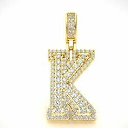1.65ct Diamond 1.5 3d Varsity Initial Letter And039kand039 Pendant Necklace 14k Gold